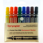 8er Set PENTEL PEN N50 - Permanent Marker in 8 Farben